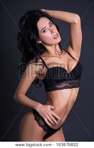 Portrait Of Sexy Beautiful Woman In Black Lace Lingerie
