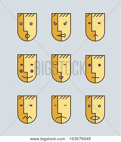 Vector set of human moods, avatars, faces emotions