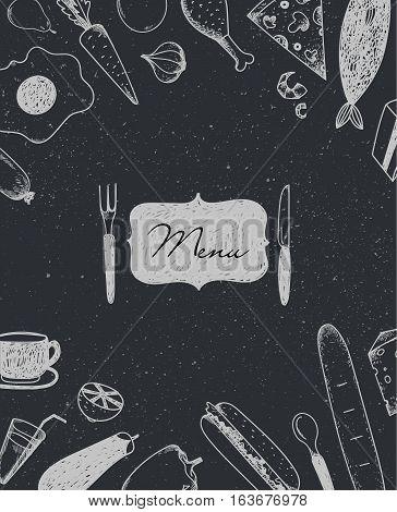 Vector restaurant brochure, menu design. Cafe template with hand-drawn graphic. Food flyer. Coffee, egg, fish, bread, sandwich, pizza, lemon carrot garlic cocktail etc Blackboard style