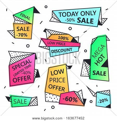Vector set of sale origami outline banners with textures. Low price offer, mega hot, special offer, discount.