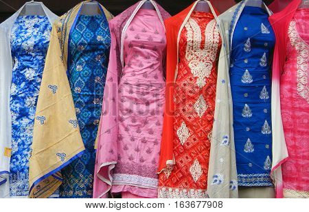 HYDERABAD,INDIA-FEBRUARY 16:Mannequins dressed in latest Indian fashion salwar kameez kept in front of retail clothes store on February 16,2016 in Hyderabad,India.