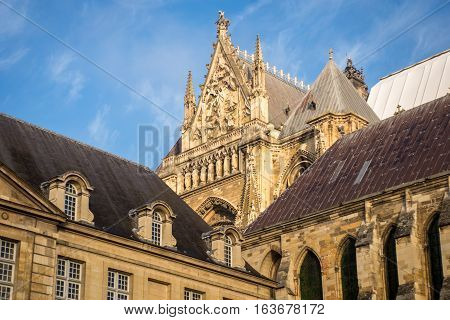 Intersection of Reims cathedral and Tau palace, Champagne France