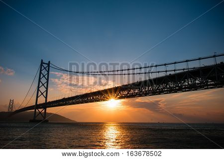 Akashi Kaikyo Bridge Seto Inland Sea In Kobe Japan