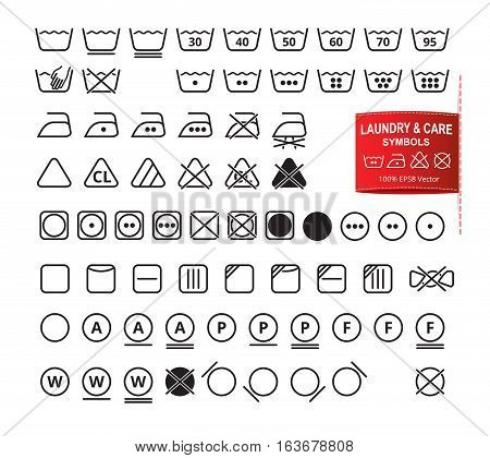 Icon set of laundry symbols in modern thin line flat design style. Clothing washing, bleaching, drying, ironing, cleaning pictograms. Garment care labels vector eps8 illustration.