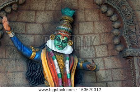 HYDERABAD,INDIA-DECEMBER 23:Indian kerala traditional Kathakali dancer Wall art on Flyover during Conference of Parties-11 on December 23,2016 Hyderabad,India