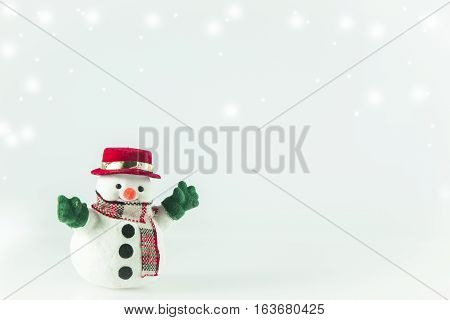 Snowman Stand On White Background