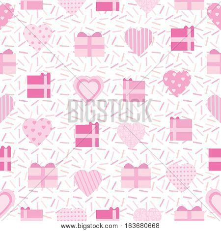 Seamless background of Valentine illustration with pink love shape and gift on sprinkles background suitable for Valentine's day scrap paper, wallpaper and postcard
