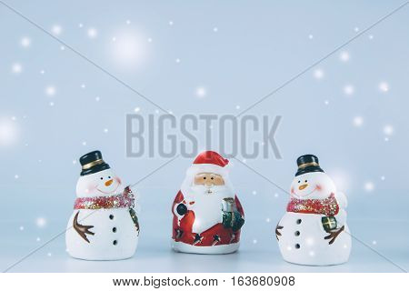 Santa Claus And Gang Of Snowman With Snow Flake
