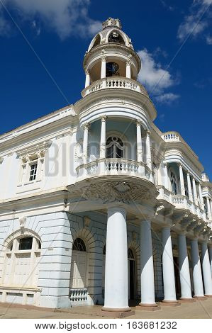 Colonial Palacio Ferrer building located by the main square in the Cienfuegos city on Cuba.