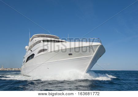 Large Private Motor Yacht Out At Sea