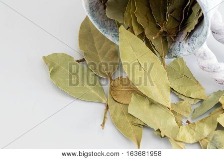 Bay Leaves On White Wooden Table