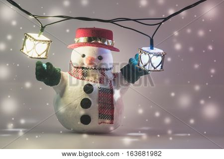 Snowman And Light Bulb On White Background