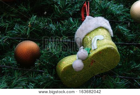 Closeup of Christmas tree decoration for use as background