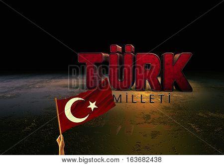 Flag Turkish Flag Design and Presentation, 3D Render with Stage Media