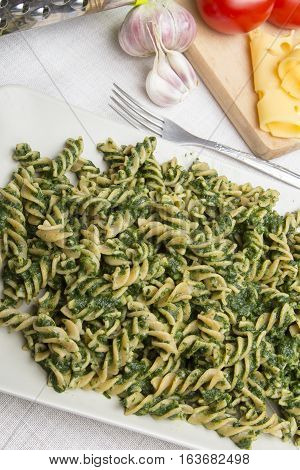 pasta with spinach for dinner, copy space