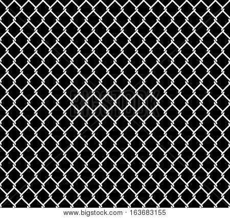 Wired metallic fence seamless pattern overlay. Steel wire mesh isolated on black background. Stylized vector texture.