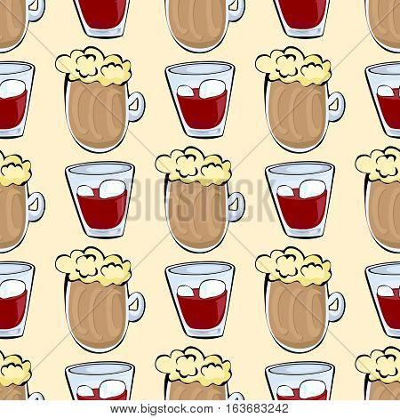 Seamless pattern with wine and beer, vector illustration
