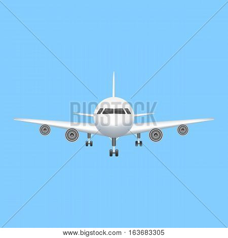 Airplane icon vector aviation illustration. passenger airplane isolated on blue background.
