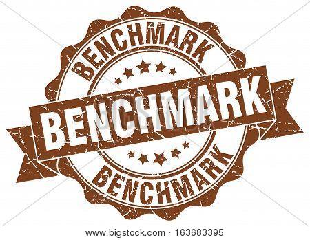 benchmark. stamp. sign. seal. round. retro. ribbon