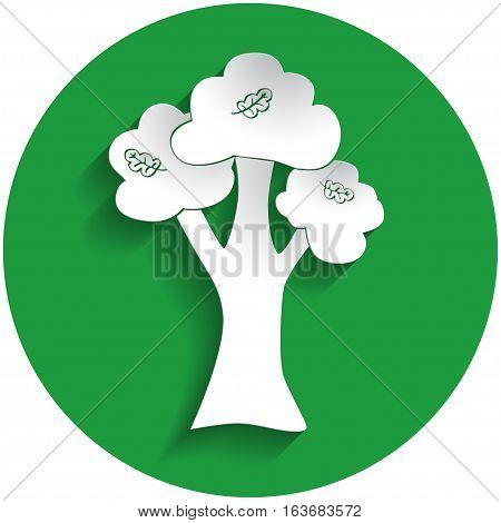 Oak Icon In Paper Style