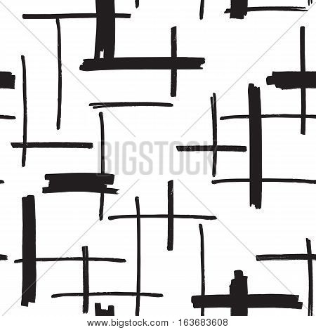 Felt pen strokes seamless background in black and white colors. Marker streaks hand drawn repeating pattern. Abstract texture for print, textile, fabric. EPS8 vector illustration.