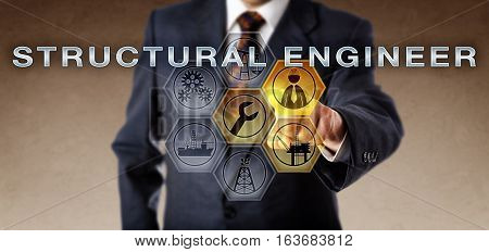 Male recruiter touching STRUCTURAL ENGINEER on an interactive computer screen. Oil and gas industry concept and petroleum process industrial metaphor for an engineering role in offshore or onshore.