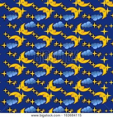 Seamless pattern with moon and stars, vector illustration