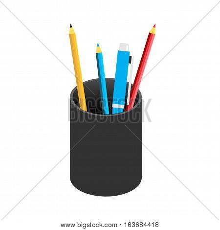Pencil case icon symbol for web icon or graphics element. Education supplies.