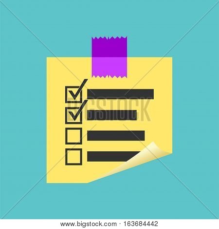 Sticky note paper. Reminder paper concept symbol