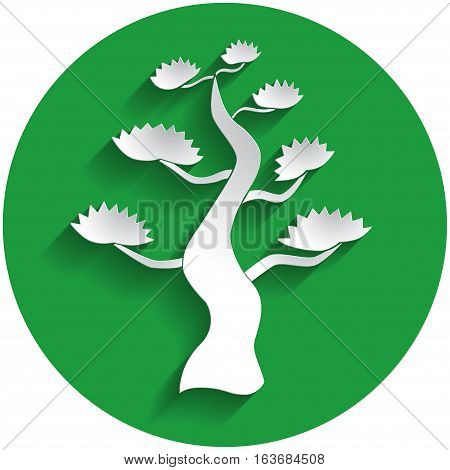 Bonsai Icon In Paper Style