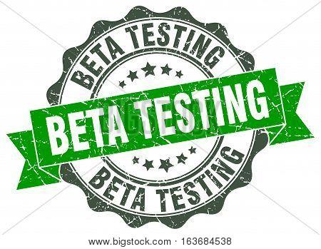 beta testing. stamp. sign. seal. round. retro. ribbon