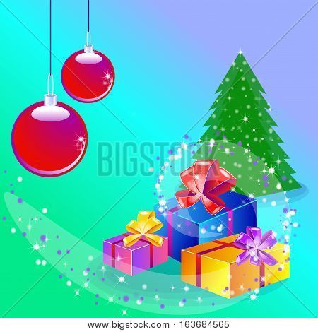 Christmas card with a tree, presents and christams balls