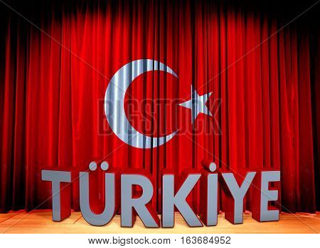 Flag Turkish Flag Design and Presentation,  Sahne Ortamı ile 3D Render