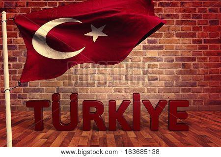 Turkish Flag, 3D Render with Studio Media