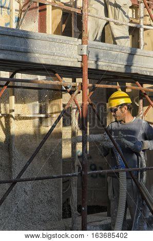 Cascina Italy - November 06 2015: Passive house construction site