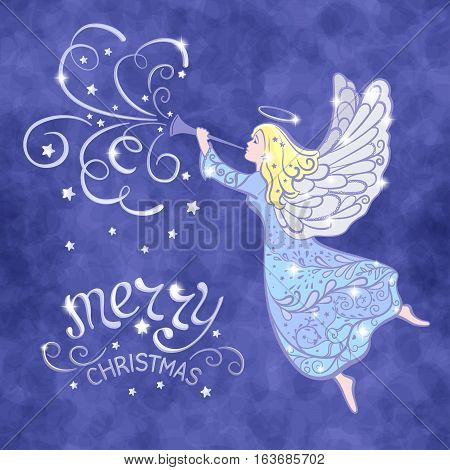 Christmas Angel with the trumpet flying in the sky - vector illustration