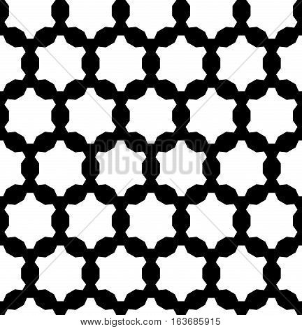 Vector monochrome seamless pattern, repeat geometric background, black & white ornament gears. Abstract modern endless texture, editable design element for prints, digital, decoration, textile, web