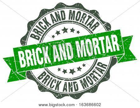 brick and mortar. stamp. sign. seal. round. retro. ribbon