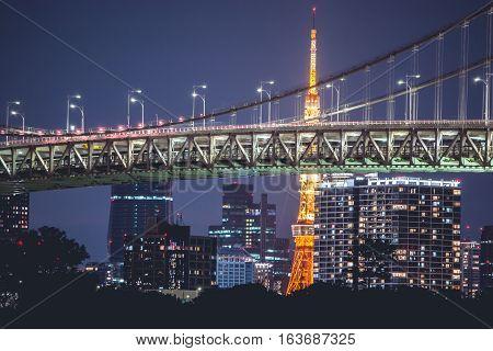 Night View Rainbow Bridge And Tokyo Tower.