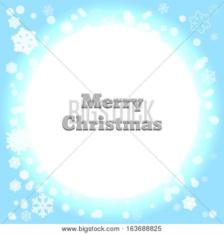 Background snowflakes. Merry Christmas on multicolor gradient background. Vector illustration. Bokeh effect. Circle neon.