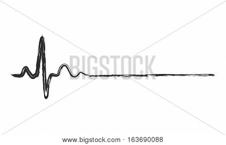 Hand drawn heartbeat icon. Vector illustration. Black heartbeat sign in flat design. Heartbeat isolated.
