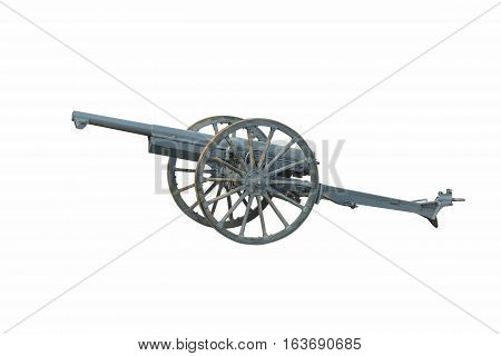 Iron cannon isolated over a white background. Ancient armament for war