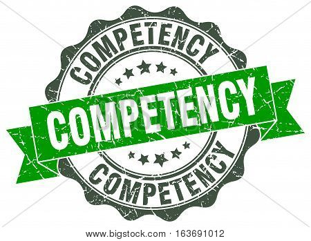 competency. stamp. sign. seal. round. retro. ribbon
