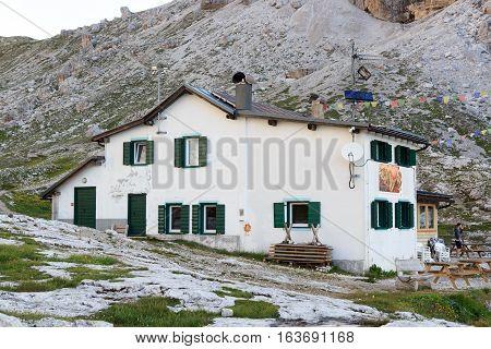 Alpine hut Rifugio Carducci Sexten Dolomites in South Tyrol Italy