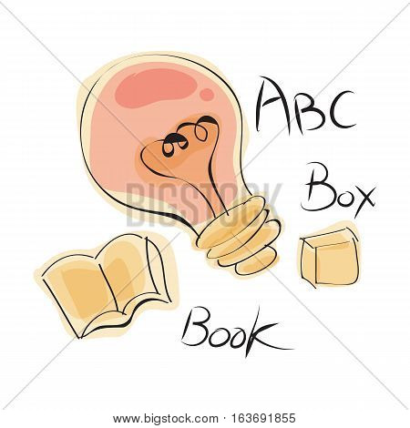 hand drawn fun learning icon (letters, lightbulb, book, and box) with color on white background. vector illustration.