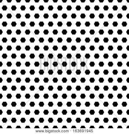 Vector monochrome seamless pattern, black hexagons on white background. Abstract geometric endless texture. Simple figures. Design for tileable print, decoration, digital, cover, textile, identity