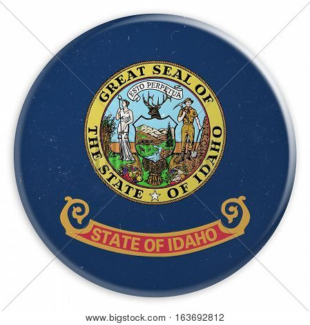 Vintage US State Button: Dirty Desaturated Idaho Flag Badge 3d illustration on white background