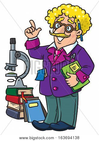 Childrens vector illustration of funny scientist or inventor. A man in glasses and suit with books, folders and microscope raised index finger. Profesion ABC series.