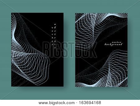 Set geometric black and blue background. Universal template for covers, flyers, banners, posters and placards, presentations, books. Business card. EPS10 vector illustration A4 Size