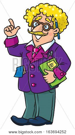 Childrens vector illustration of funny scientist or inventor. A man in glasses and suit, raised index finger. Profesion ABC series.